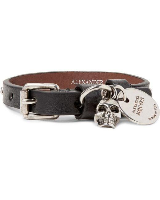 Alexander McQueen | - Studded Leather Bracelet - Black for Men | Lyst