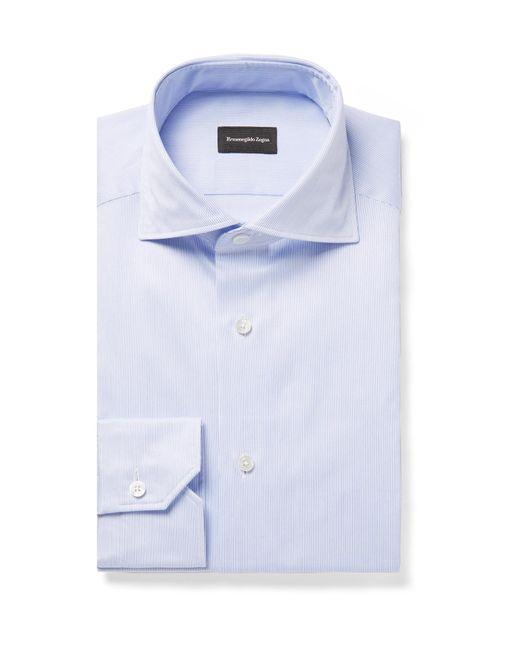 Ermenegildo Zegna - Blue Slim-fit Cutaway-collar Striped Cotton-twill Shirt for Men - Lyst