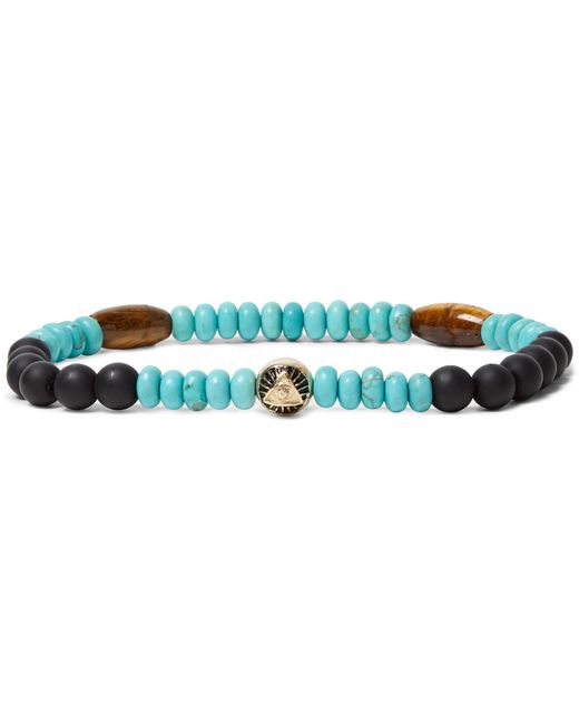 Luis Morais | Blue Bead, Gold-tone And Multi-stone Necklace for Men | Lyst