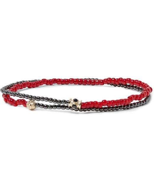 Luis Morais - Red Glass, Hematite And Gold Bead Wrap Bracelet for Men - Lyst