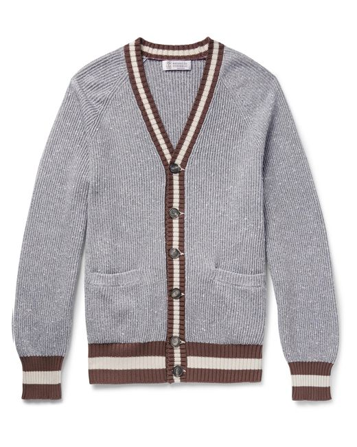 Brunello Cucinelli - Gray Melange Knitted Cardigan for Men - Lyst
