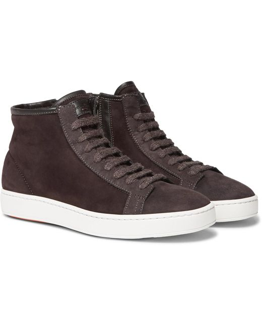 Santoni - Brown Shearling-lined Suede High-top Sneakers for Men - Lyst