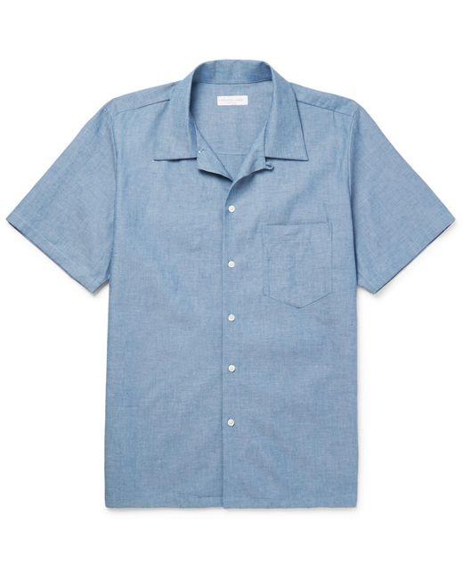 Richard James - Blue Camp-collar Cotton-chambray Shirt for Men - Lyst