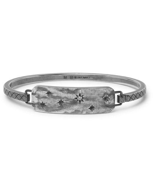 Bottega Veneta - Metallic Engraved Gunmetal-tone Crystal Cuff for Men - Lyst