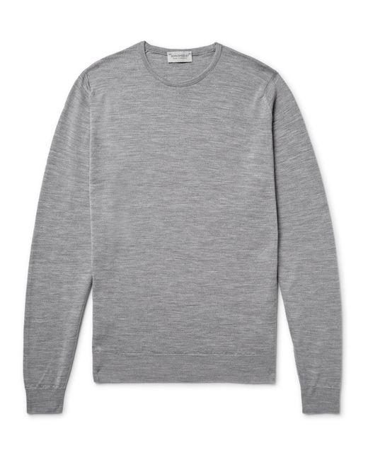 John Smedley - Gray Lundy Mélange Merino Wool Sweater for Men - Lyst