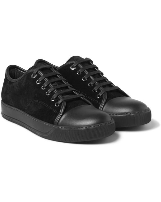 lanvin black python leather classic tennis trainers in