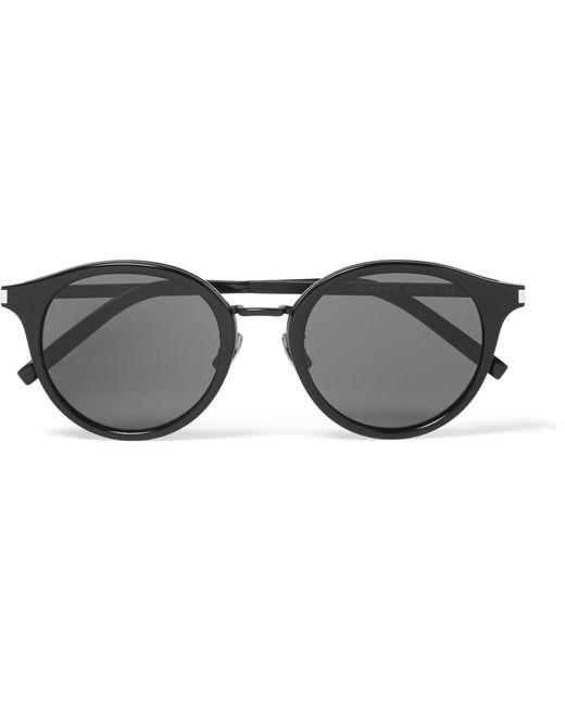Saint Laurent - Black Classic 57 Round-frame Acetate And Gunmetal-tone Sunglasses for Men - Lyst
