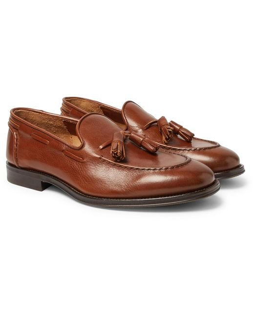 Brunello Cucinelli - Brown Full-grain Leather Tasselled Loafers for Men - Lyst