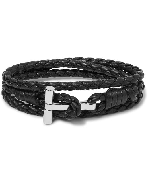 Tom Ford - Multicolor Woven Leather And Palladium-plated Wrap Bracelet for Men - Lyst