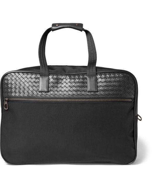 Bottega Veneta   Black Intrecciato Leather And Canvas Duffle Bag With Wheels for Men   Lyst