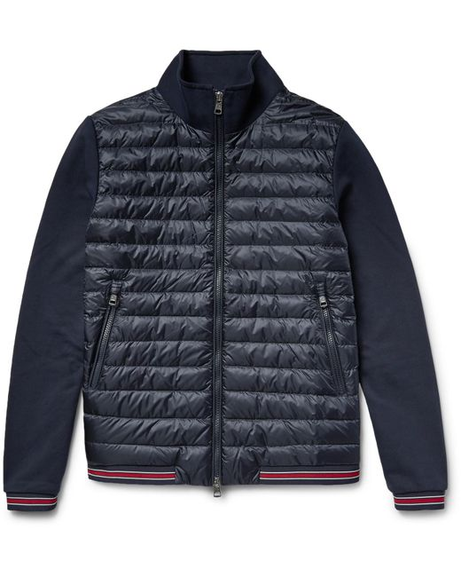 Moncler | Blue Loopback Cotton-jersey And Quilted Shell Down Bomber Jacket for Men | Lyst