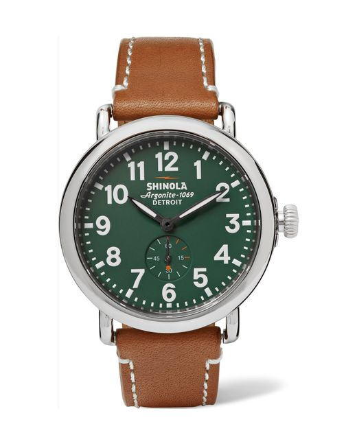Shinola - Green The Runwell 41mm Stainless Steel And Leather Watch for Men - Lyst