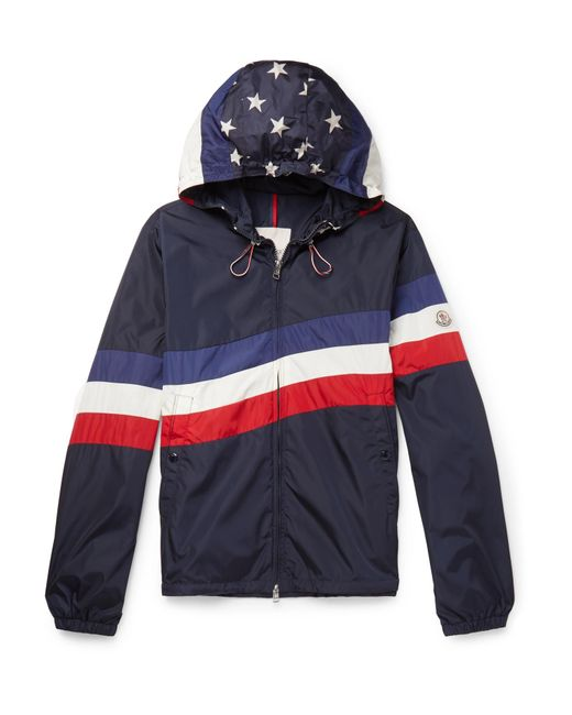 56e56228b Moncler Printed Shell Hooded Jacket in Blue for Men - Lyst