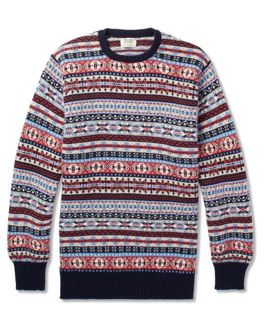 William Lockie | Blue Fair Isle Cashmere Sweater for Men | Lyst