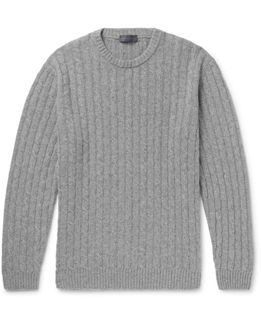 Thom Sweeney | Gray Slim-fit Cable-knit Cashmere Sweater for Men | Lyst