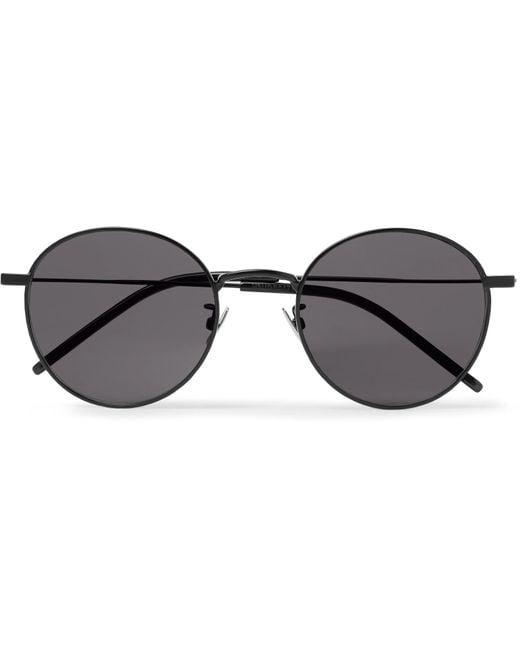 8209327e635 Lyst - Saint Laurent Round-frame Metal Sunglasses in Black for Men