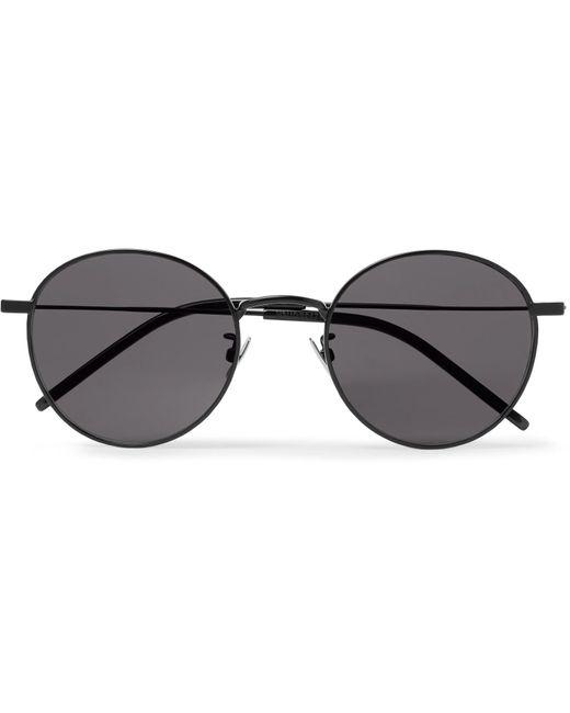 d2f4a96c50 Lyst - Saint Laurent Round-frame Metal Sunglasses in Black for Men