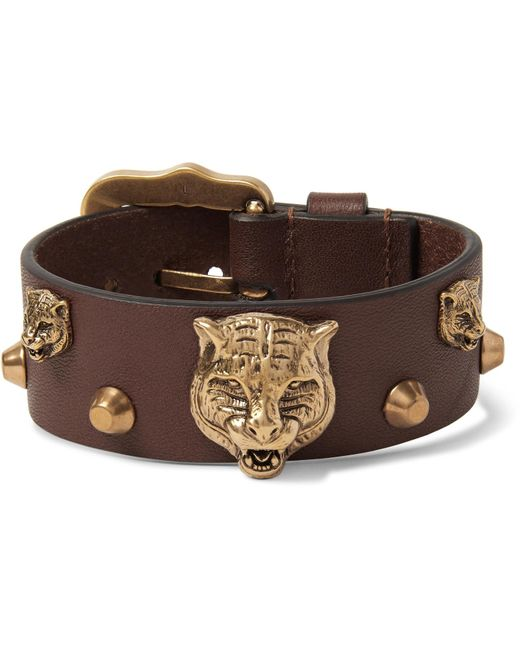 Gucci - Brown - Studded Leather And Burnished Gold-tone Bracelet - Tan for Men - Lyst