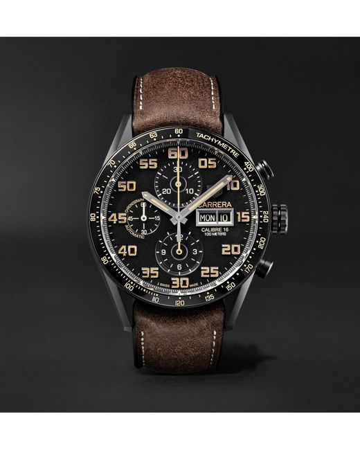 38ce46f2990 Tag Heuer - Black Carrera Automatic Chronograph 45mm Titanium And Leather  Watch for Men - Lyst