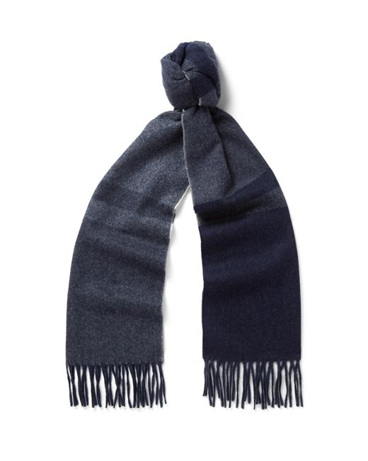 Begg & Co - Blue Vigo Fringed Checked Wool And Cashmere-blend Scarf for Men - Lyst
