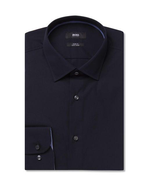 9f2f57cfe BOSS Midnight-blue Slim-fit Jesse Cotton-poplin Shirt in Blue for ...