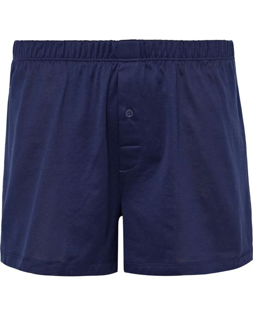 Hanro - Blue Sporty Mercerised Cotton Boxer Shorts for Men - Lyst