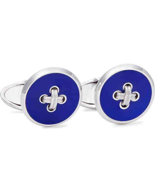 Dunhill - Metallic Button Sterling Silver Enamel Cufflinks for Men - Lyst