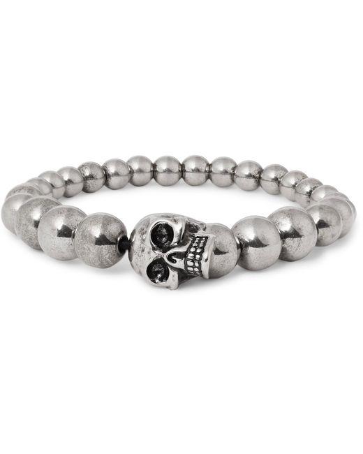 Alexander McQueen | Metallic Silver-tone Beaded Skull Bracelet for Men | Lyst
