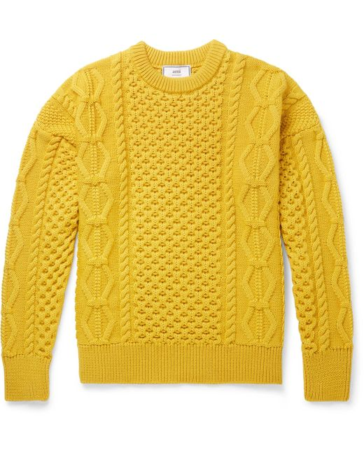 AMI - Yellow Cable-knit Merino Wool Sweater for Men - Lyst