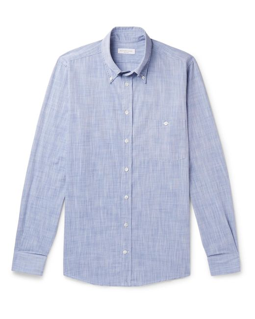 Richard James - Blue Button-down Collar Mélange Cotton Shirt for Men - Lyst