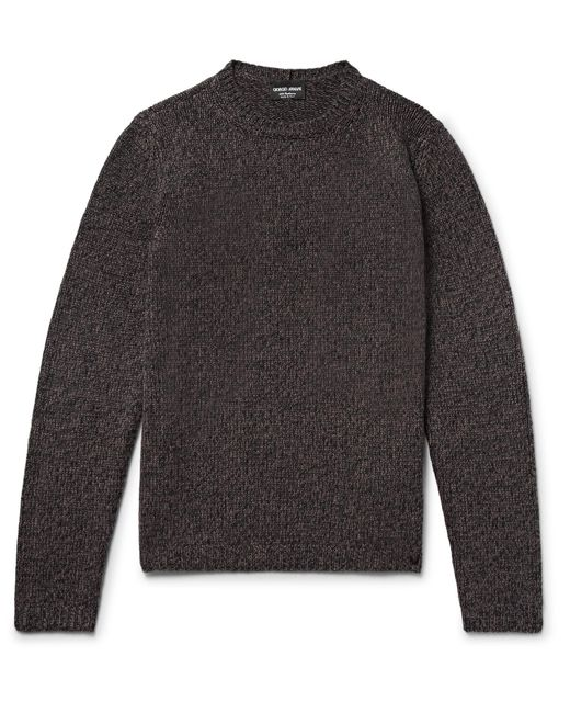 Giorgio Armani | Brown Mélange Cashmere Sweater for Men | Lyst