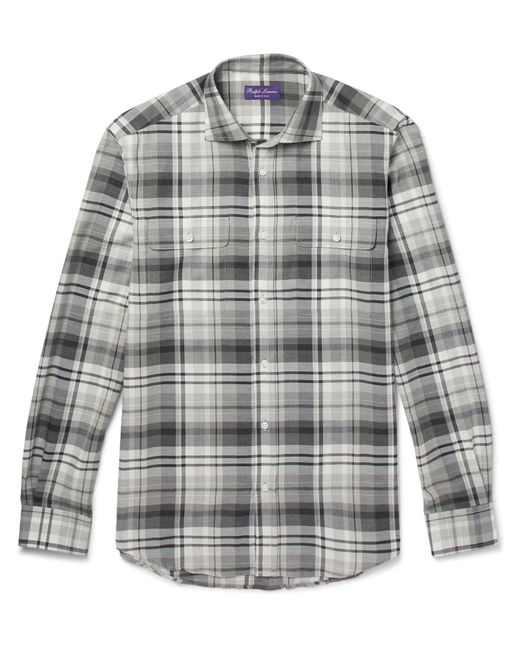 Ralph Lauren Purple Label | Gray Stewart Checked Cotton And Cashmere-blend Shirt for Men | Lyst