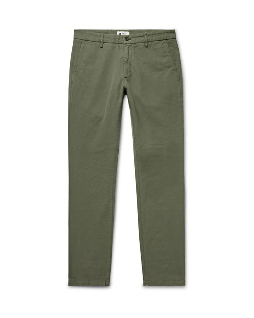 Lyst - NN07 Karl Slim-fit Cotton And Linen-blend Trousers in Green ... 23d6b33318c92