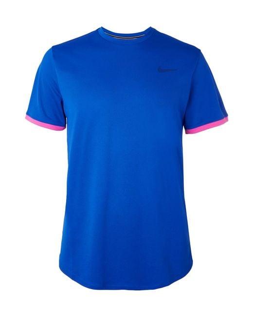 9bdf6e81d Lyst - Nike Nikecourt Dri-fit Tennis T-shirt in Blue for Men