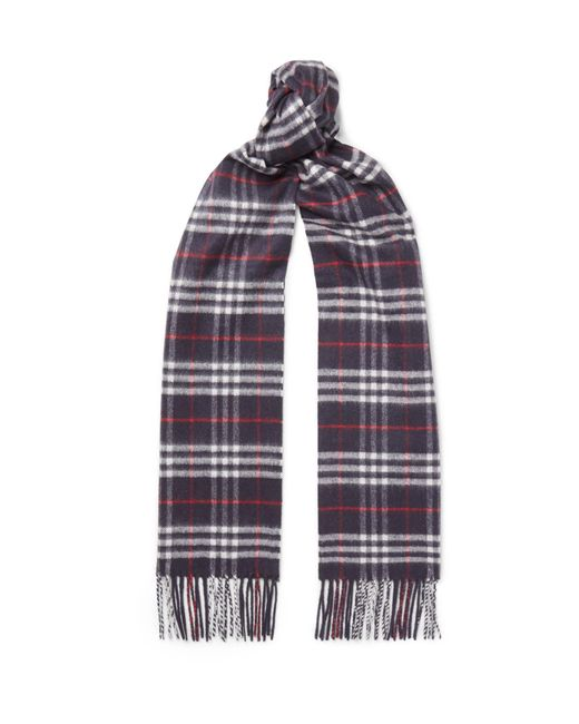 Burberry - Blue Fringed Checked Cashmere Scarf for Men - Lyst