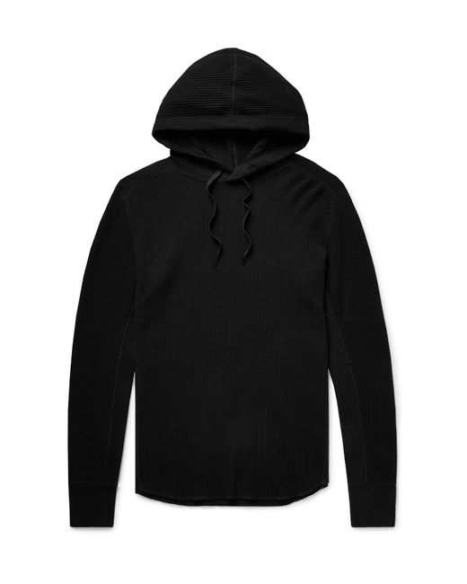 Rag & Bone - Black Waffle-knit Cotton Hoodie for Men - Lyst