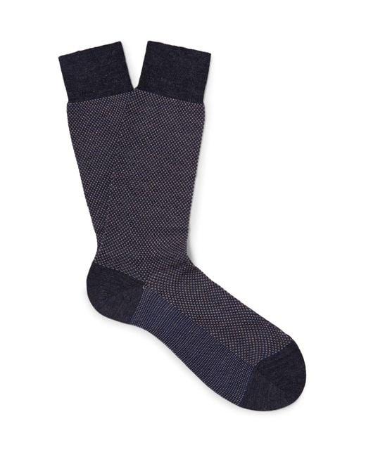 Pantherella - Gray Blenheim Birdseye Merino Wool-blend Socks for Men - Lyst