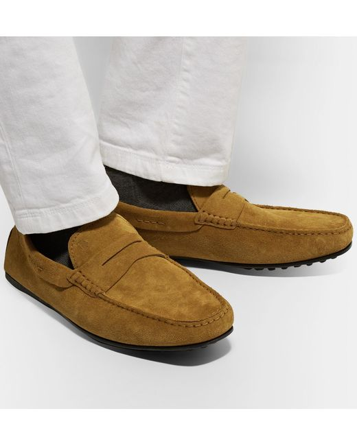13c8ba406bf ... Lyst Tod s - Brown City Gommino Suede Penny Loafers for Men ...