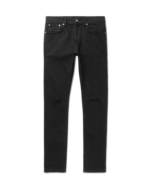 Sandro - Black Skinny-fit Distressed Stretch-denim Jeans for Men - Lyst