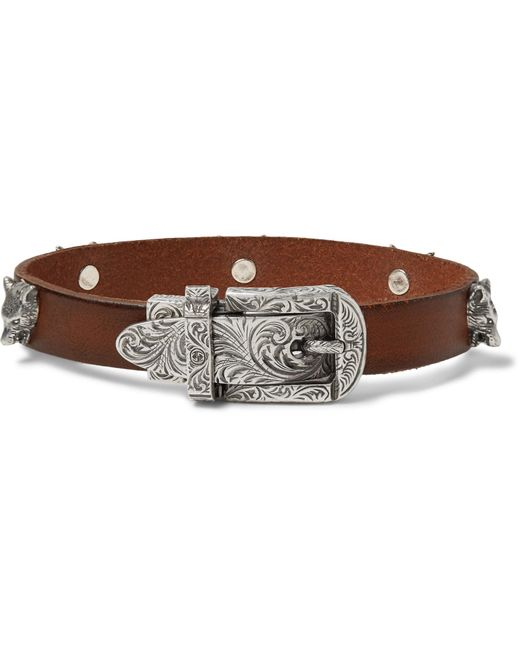 Gucci - Brown Burnished-leather And Silver-tone Bracelet for Men - Lyst