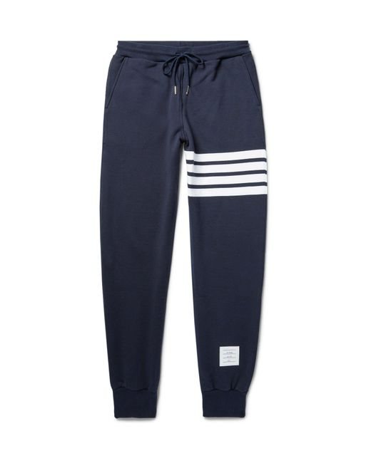 Thom Browne | Blue Tapered Striped Loopback Cotton-jersey Sweatpants for Men | Lyst