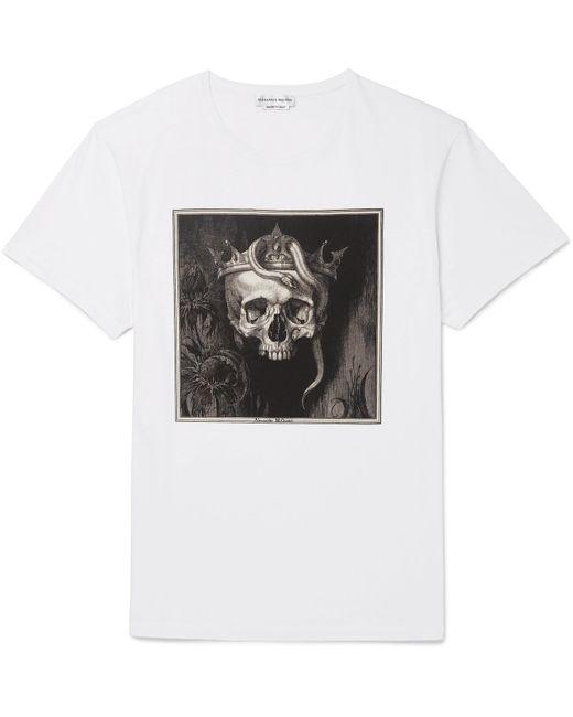 Alexander McQueen - White Printed Cotton-jersey T-shirt for Men - Lyst
