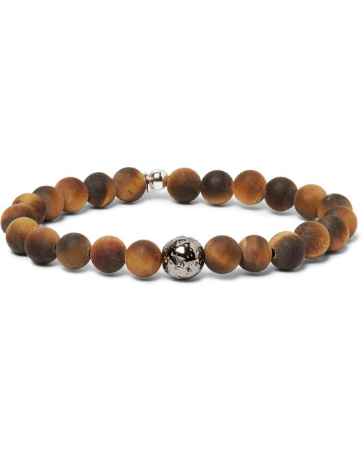 Tateossian - Brown Tiger's Eye Bead And Sterling Silver Bracelet for Men - Lyst