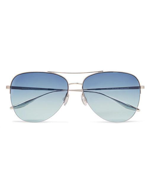 Barton Perreira - Metallic Chevalier Aviator-style Silver-tone Titanium Sunglasses for Men - Lyst