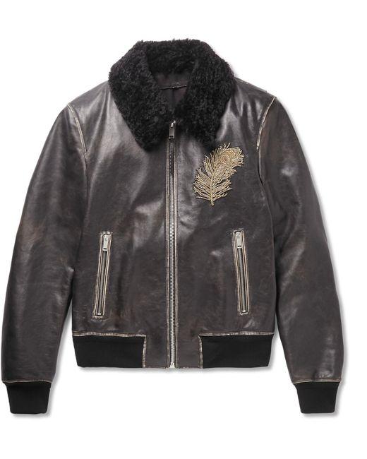 Alexander McQueen | Black Shearling-trimmed Leather Jacket for Men | Lyst