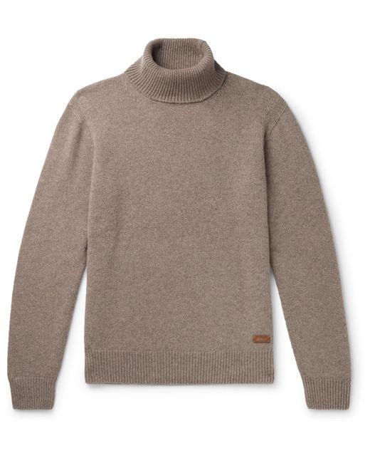 Brioni Brown Logo-appliquéd Cashmere Rollneck Sweater for men