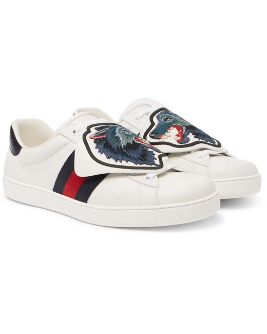 e18e2636941 Gucci - White Ace Embroidered Leather Sneakers for Men - Lyst ...
