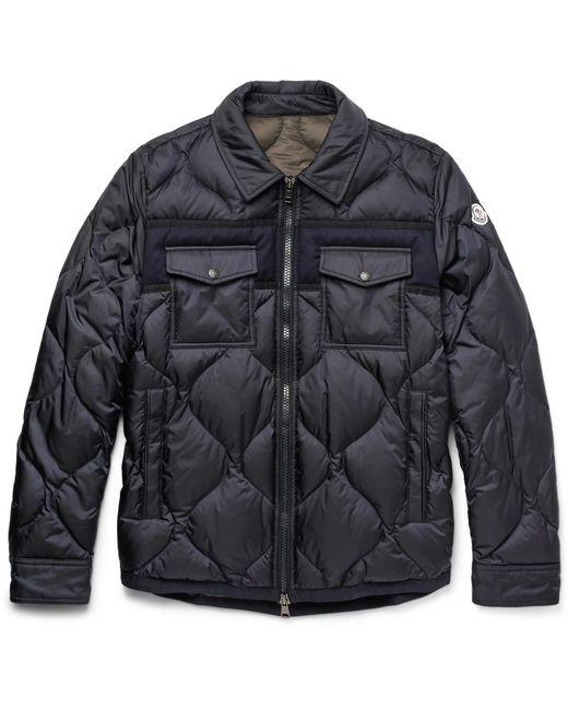 Moncler - Blue Stephan Felt-trimmed Quilted Shell Down Jacket for Men - Lyst