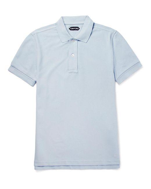 Tom Ford - Blue Cotton-piqué Polo Shirt for Men - Lyst