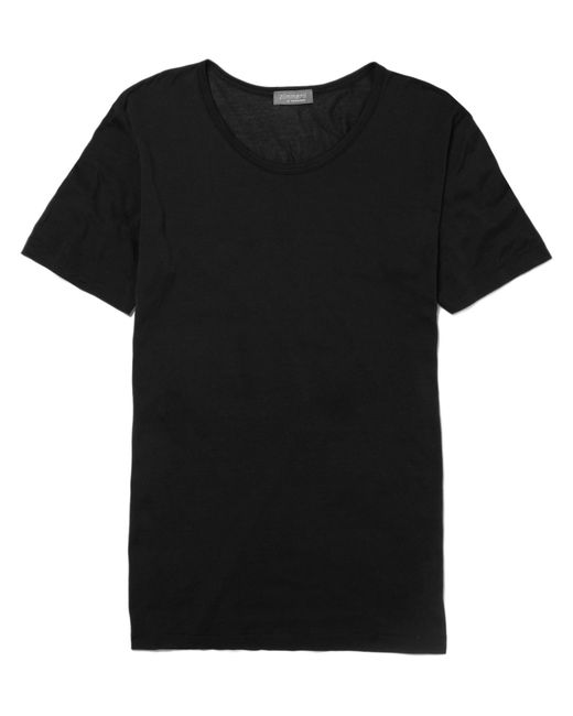 Zimmerli | Black Royal Classic Crew-neck Cotton T-shirt for Men | Lyst